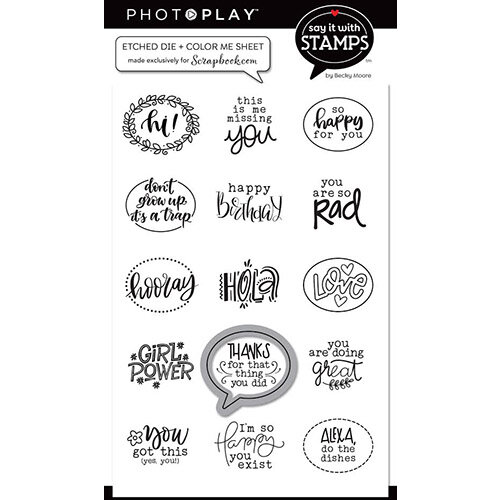 Photo Play Paper - Etched Dies - Bubble Die With ColorMe Sentiment