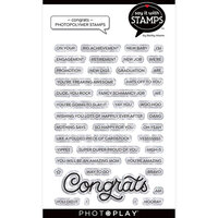 Photo Play Paper - Say It With Stamps Collection - Clear Photopolymer Stamps - Congrats