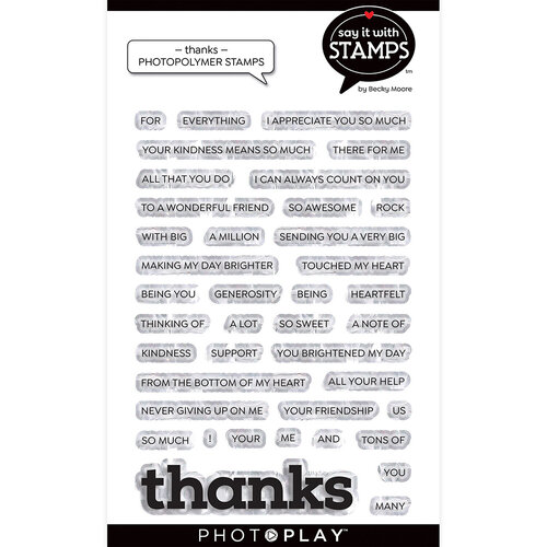 Photo Play Paper - Say It With Stamps Collection - Clear Photopolymer Stamps - Thanks