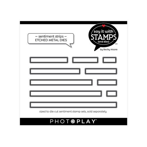 Photo Play Paper - Say It With Stamps Collection - Dies - Sentiment Strips