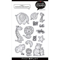 Photo Play Paper - Say It With Stamps Collection - Clear Photopolymer Stamps - Baby Hugs and Kisses