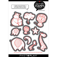 Photo Play Paper - Say It With Stamps Collection - Dies - Baby Hugs and Kisses