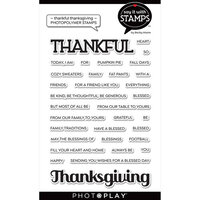 Photo Play Paper - Say It With Stamps Collection - Clear Photopolymer Stamps - Thankful Thanksgiving