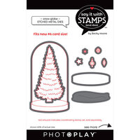 Photo Play Paper - Say It With Stamps Collection - Dies - Snow Globe and Tree