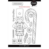 Photo Play Paper - Say It With Stamps Collection - Clear Photopolymer Stamps - Nutcracker And Candy Cane