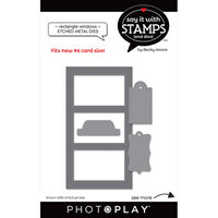 Photo Play Paper - Say It With Stamps Collection - Dies - Three Pane Rectangle Windows
