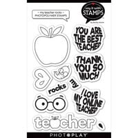 Photo Play Paper - Say It With Stamps Collection - Clear Photopolymer Stamps - My Teacher Rocks