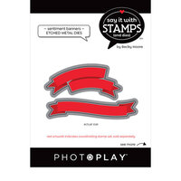 Photo Play Paper - Say It With Stamps Collection - Dies - Banner Sentiments