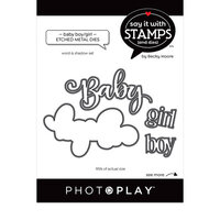 Photo Play Paper - Say It With Stamps Collection - Dies - Baby Boy and Baby Girl