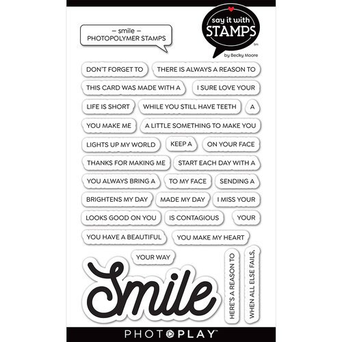 Photo Play Paper - Say It With Stamps Collection - Clear Photopolymer Stamps - Smile