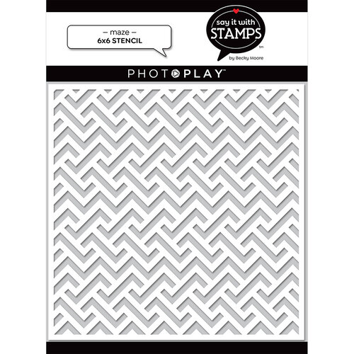 Photo Play Paper - Say It With Stamps Collection - 6 x 6 Stencils - Maze