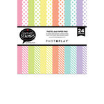 Photo Play Paper - Say It With Stamps Collection - 6 x 6 Paper Pad - Pastel Dots and Stripes