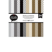 Photo Play Paper - Say It With Stamps Collection - 6 x 6 Paper Pad - Neutral Dots and Stripes