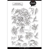 Photo Play Paper - Say It With Stamps Collection - Clear Photopolymer Stamps - Peony Bouquet