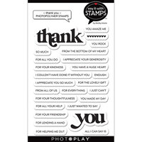 Photo Play Paper - Say It With Stamps Collection - Clear Photopolymer Stamps - Thank You Word