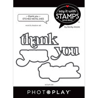 Photo Play Paper - Say It With Stamps Collection - Dies - Thank You Word
