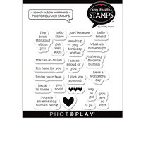 Photo Play Paper - Say It With Stamps Collection - Clear Photopolymer Stamps - Speech Bubble Sentiments