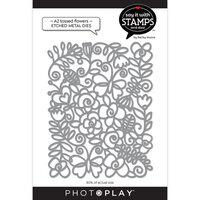 Photo Play Paper - Say It With Stamps Collection - Dies - A2 - Tossed Flowers