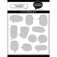 Photo Play Paper - Say It With Stamps Collection - 6 x 6 Stencils - Speech Bubbles