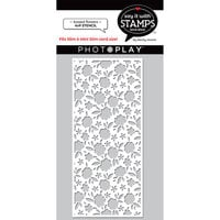 Photo Play Paper - Say It With Stamps Collection - 4 x 9 Stencils - Slimline - Tossed Flowers