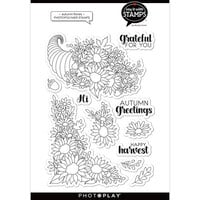 Photo Play Paper - Say It With Stamps Collection - Clear Photopolymer Stamps - Autumn Florals