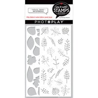 Photo Play Paper - Say It With Stamps Collection - Slimline - 4 x 9 Stencils - Autumn Leaves