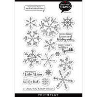 Photo Play Paper - Say It With Stamps Collection - Christmas - Clear Photopolymer Stamps - Layered Snowflakes