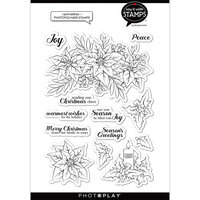 Photo Play Paper - Say It With Stamps Collection - Christmas - Clear Photopolymer Stamps - Poinsettia