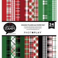 Photo Play Paper - Say It With Stamps Collection - 6 x 6 Paper Pad - Christmas Plaid
