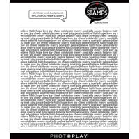 Photo Play Paper - Say It With Stamps Collection - Clear Photopolymer Stamps - Christmas Words Background