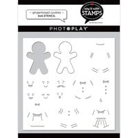 Photo Play Paper - Say It With Stamps Collection - 6 x 6 Stencils - Gingerbread Cookies