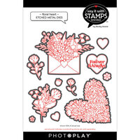 Photo Play Paper - Say It With Stamps Collection - Dies - Floral Heart