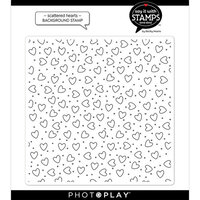 Photo Play Paper - Say It With Stamps Collection - Clear Photopolymer Stamps - Scattered Hearts Background