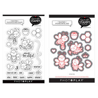 Photo Play Paper - Say It With Stamps Collection - Clear Photopolymer Stamps and Dies - Busy Bees Bundle