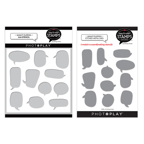 Photo Play Paper - Say It With Stamps Collection - 6 x 6 Stencil and Dies - Speech Bubbles Bundle