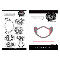 Photo Play Paper - Say It With Stamps Collection - Clear Photopolymer Stamps and Dies - Talking Masks Bundle