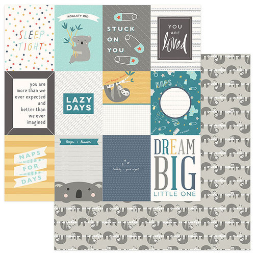 Photo Play Paper - Snuggle Up Collection - Boy - 12 x 12 Double Sided Paper - Dream Big 3 x 4 Cards