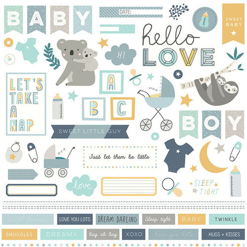 Photo Play Paper - Snuggle Up Collection - Boy - 12 x 12 Cardstock Stickers - Elements