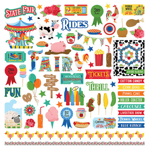 Photo Play Paper - State Fair Collection - 12 x 12 Cardstock Stickers - Elements