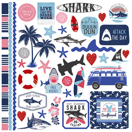 Photo Play Paper - Shark Attack Collection - 12 x 12 Cardstock Stickers - Elements