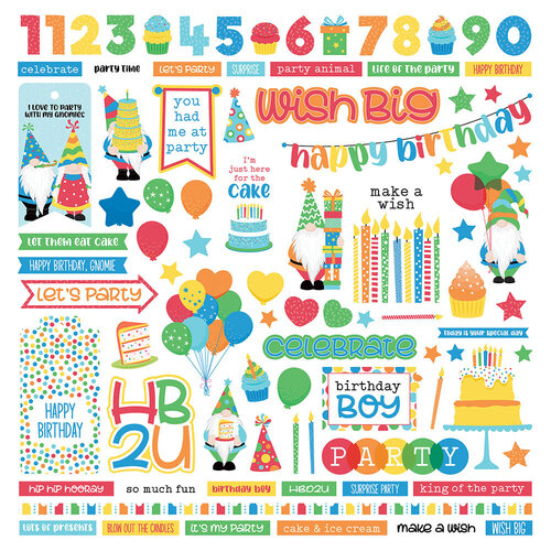 Photo Play Paper - Norbert's Birthday Collection - 12 x 12 Cardstock Stickers - Elements