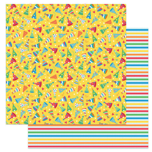 Photo Play Paper - Norbert's Birthday Collection - 12 x 12 Double Sided Paper - Party hats