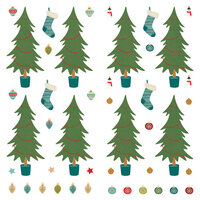 Photo Play Paper - The North Pole Trading Co. Collection - Christmas - 12 x 12 Single Sided Paper - Pre-Colored Die Cut Outs - Trim A Tree