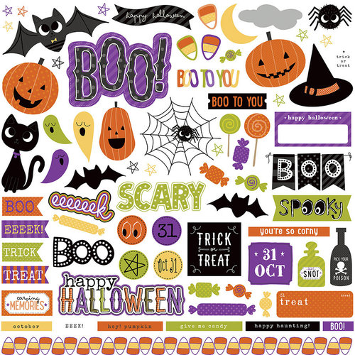 Photo Play Paper - Trick or Treat Collection - Halloween - 12 x 12 Cardstock Stickers - Elements