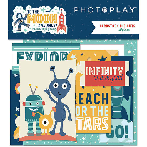Photo Play Paper - To the Moon and Back Collection - Die Cut Cardstock Pieces - Ephemera
