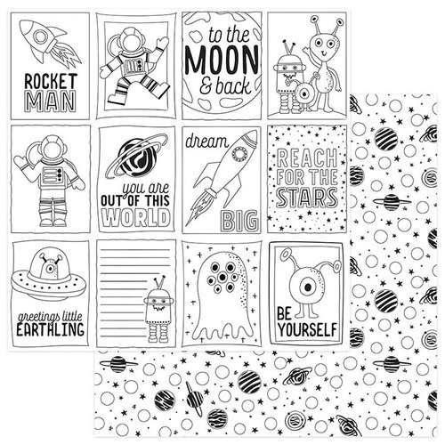 Photo Play Paper - To the Moon and Back Collection - 12 x 12 Double Sided Paper - Color Me - Space
