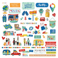 Photo Play Paper - Time to Travel Collection - 12 x 12 Cardstock Stickers - Elements