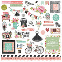 Photo Play Paper - Vintage Girl Collection - 12 x 12 Cardstock Stickers - Elements