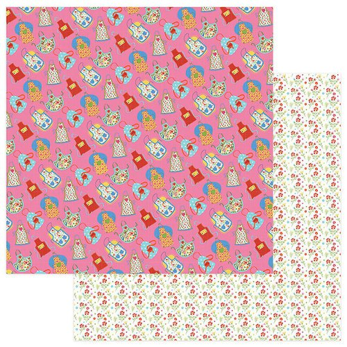 Photo Play Paper - What's Cooking Collection - 12 x 12 Double Sided Paper - Apron Strings