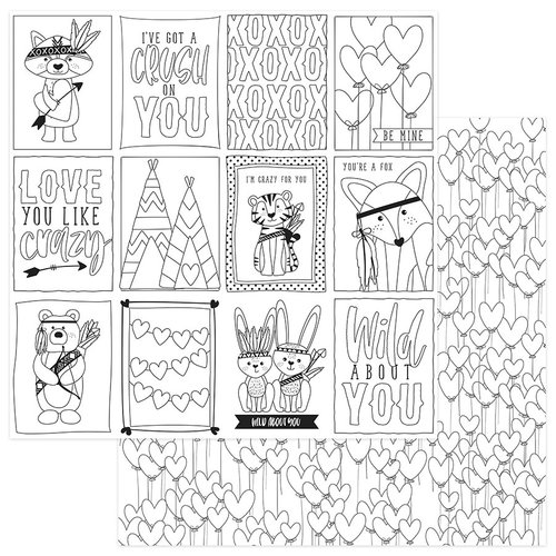 Photo Play Paper - Wild Love Collection - 12 x 12 Double Sided Paper - Color Me - Love Me